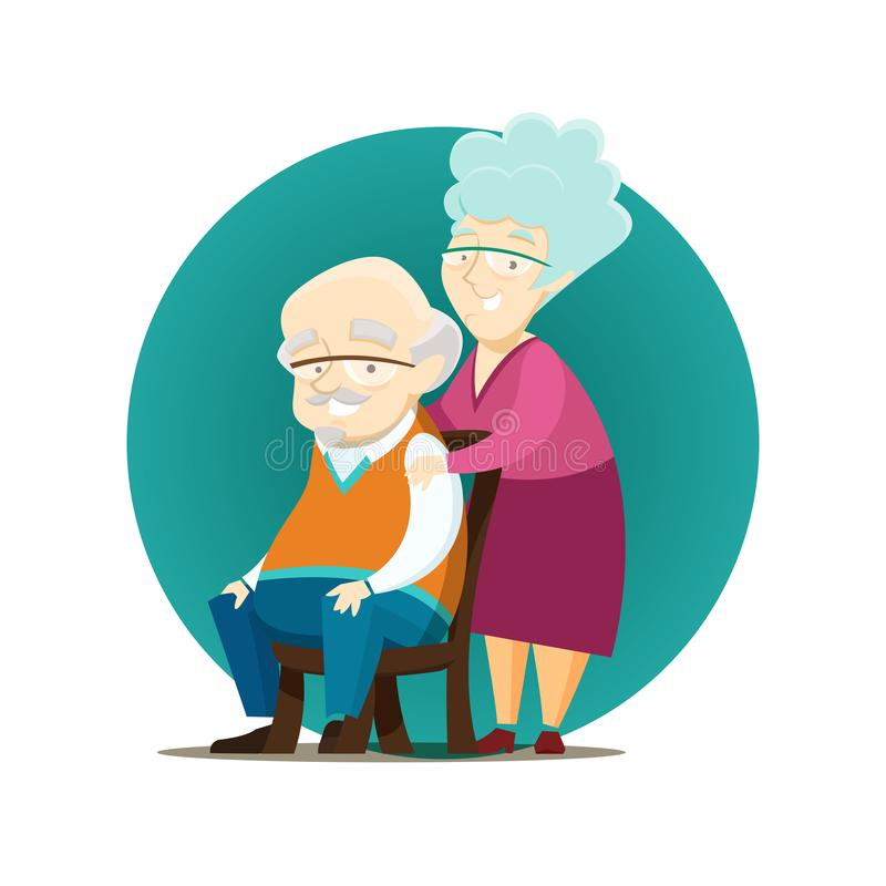 Ευτυχές ηλικιωμένο ζεύγος που θέτει από κοινού απεικόνιση αποθεμάτων