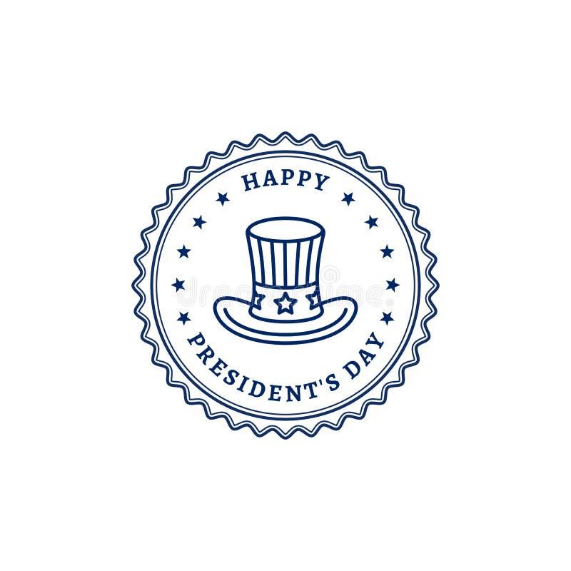 Ευτυχές καπέλο θείων Σαμ εικονιδίων γραμματοσήμων Προέδρων Day Λεπτό σχέδιο τέχνης γραμμών, διανυσματική απεικόνιση ελεύθερη απεικόνιση δικαιώματος