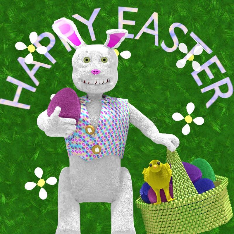 Ευτυχές λαγουδάκι Πάσχας με το καλάθι των αυγών ελεύθερη απεικόνιση δικαιώματος