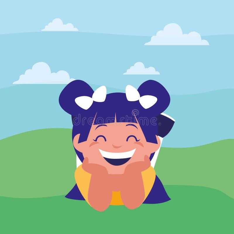 Ευτυχές μικρό κορίτσι στο στρατόπεδο ελεύθερη απεικόνιση δικαιώματος