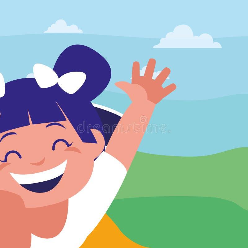 Ευτυχές μικρό κορίτσι στο στρατόπεδο απεικόνιση αποθεμάτων