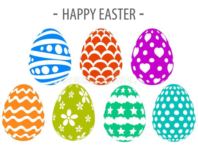 Ευτυχές δημιουργικό σχέδιο αυγών χρωμάτων σκιαγραφιών Πάσχας διανυσματική απεικόνιση
