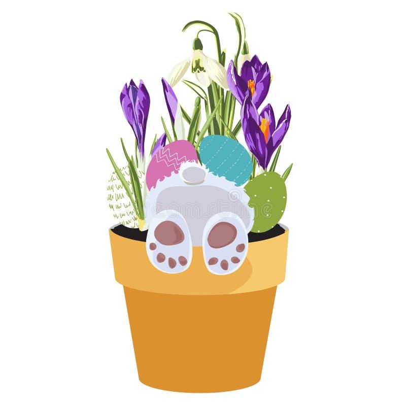 Ευτυχές στοιχείο σχεδίου Πάσχας άνοιξη, λαγουδάκι στο δοχείο με τις χλόες, κρόκος, snowdrop λουλούδια και αυγά απεικόνιση αποθεμάτων