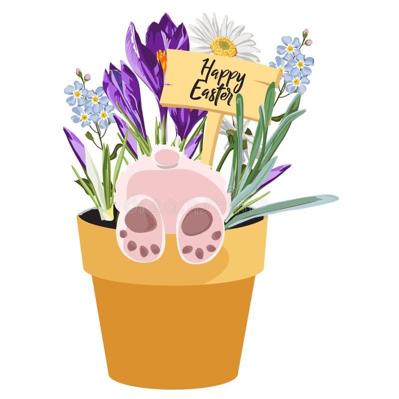 Ευτυχές στοιχείο σχεδίου Πάσχας άνοιξη, λαγουδάκι στο δοχείο με τις χλόες, κρόκος, forget-me-not και chamomile λουλούδια ελεύθερη απεικόνιση δικαιώματος
