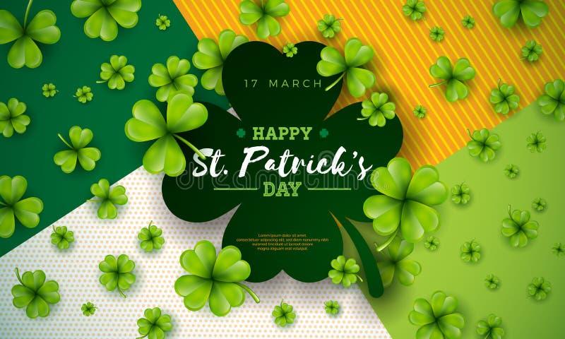 Ευτυχές σχέδιο ημέρας Αγίου Patricks με το πράσινο μειωμένο τριφύλλι στο αφηρημένο υπόβαθρο Διανυσματικός ιρλανδικός εορτασμός φε διανυσματική απεικόνιση