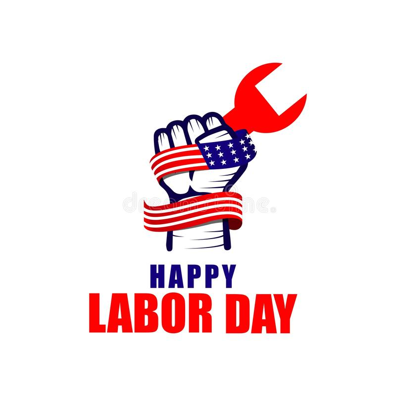 Ευτυχής Εργατικής Ημέρας απεικόνιση σχεδίου προτύπων λογότυπων διανυσματική ελεύθερη απεικόνιση δικαιώματος