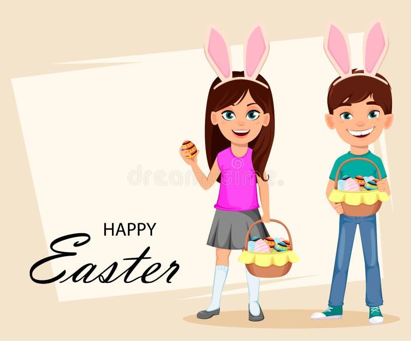 Ευτυχής ευχετήρια κάρτα Πάσχας με τα παιδιά διανυσματική απεικόνιση