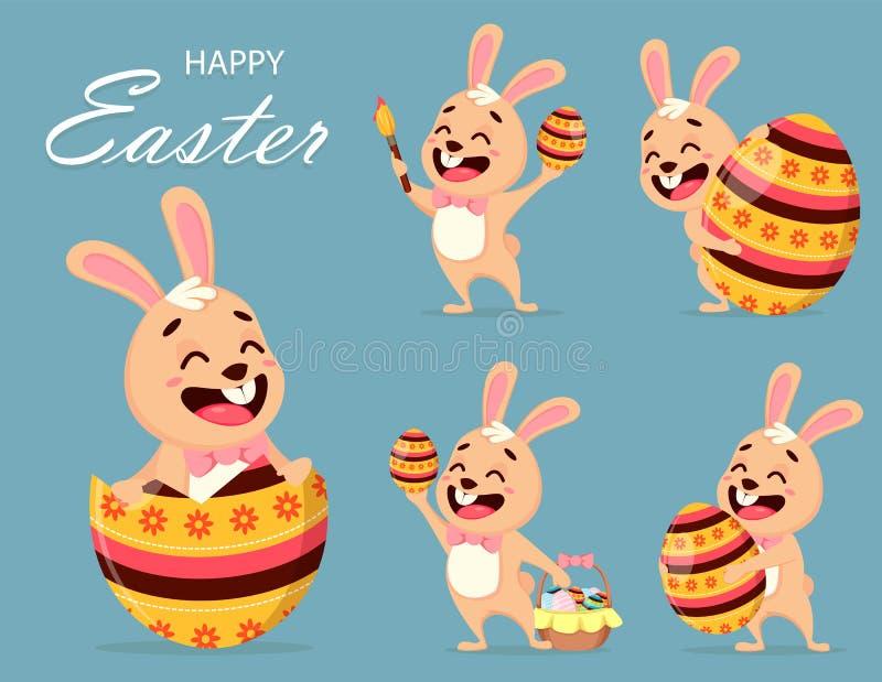 Ευτυχής ευχετήρια κάρτα Πάσχας χαριτωμένο κουνέλι διανυσματική απεικόνιση