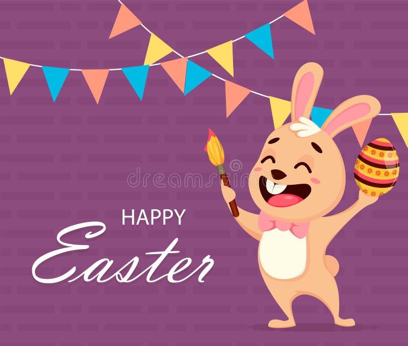 Ευτυχής ευχετήρια κάρτα Πάσχας Πάσχα, έννοια άνοιξη διανυσματική απεικόνιση