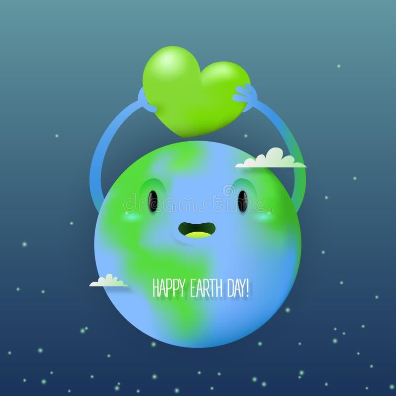 Ευτυχής κάρτα γήινης ημέρας με έναν χαριτωμένο πλανήτη eart απεικόνιση αποθεμάτων