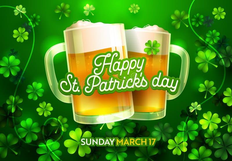 Ευτυχής κάρτα ημέρας του ST Patricks με την τυχερούς διακόσμηση τριφυλλιού μπύρας και τον τύπο πηγών καλλιγραφίας Παραδοσιακή κάρ διανυσματική απεικόνιση