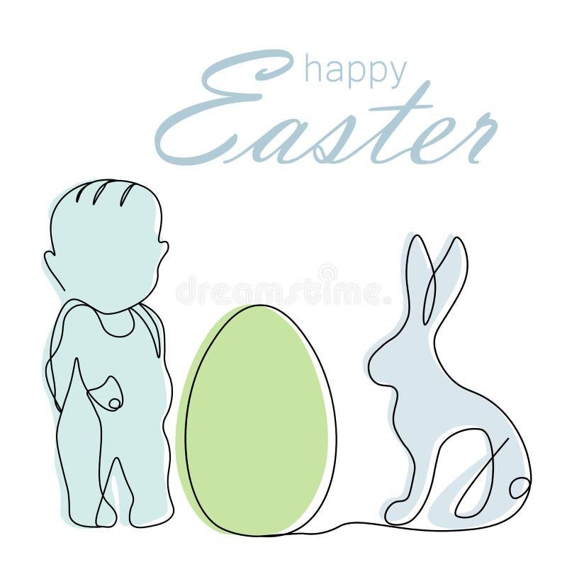 Ευτυχής κάρτα Πάσχας με το λαγουδάκι, αυγό, αγοράκι, διανυσματική απεικόνιση διανυσματική απεικόνιση