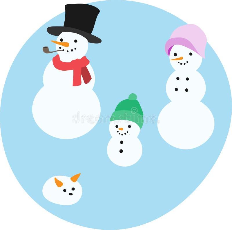 Ευτυχής οικογένεια χιονιού διανυσματική απεικόνιση
