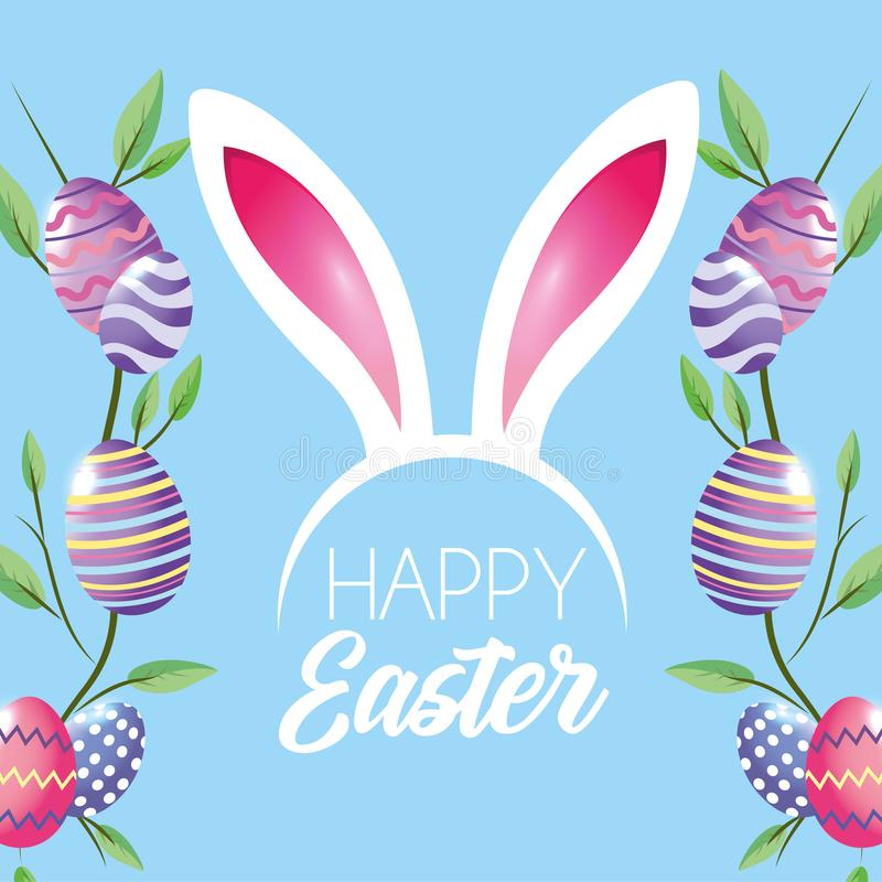 Ευτυχής διακόσμηση αυγών Πάσχας με diadem φύλλων φυτών και αυτιών κουνελιών απεικόνιση αποθεμάτων