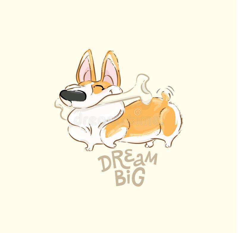 Ευτυχής διανυσματική αφίσα κόκκαλων παιχνιδιού σκυλιών Corgi Αστείος λίγο κουταβιών ζωικό σχέδιο αφισών τυπωμένων υλών τυπογραφία απεικόνιση αποθεμάτων