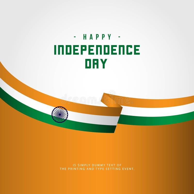 Ευτυχής της Ινδίας απεικόνιση σχεδίου προτύπων ημέρας της ανεξαρτησίας διανυσματική διανυσματική απεικόνιση