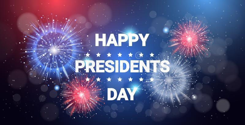 Ευτυχή πυροτέχνημα εορτασμού Ηνωμένων διακοπών έννοιας ημέρας Προέδρου στη εθνική σημαία χρωματίζουν το επίπεδο ευχετήριων καρτών απεικόνιση αποθεμάτων