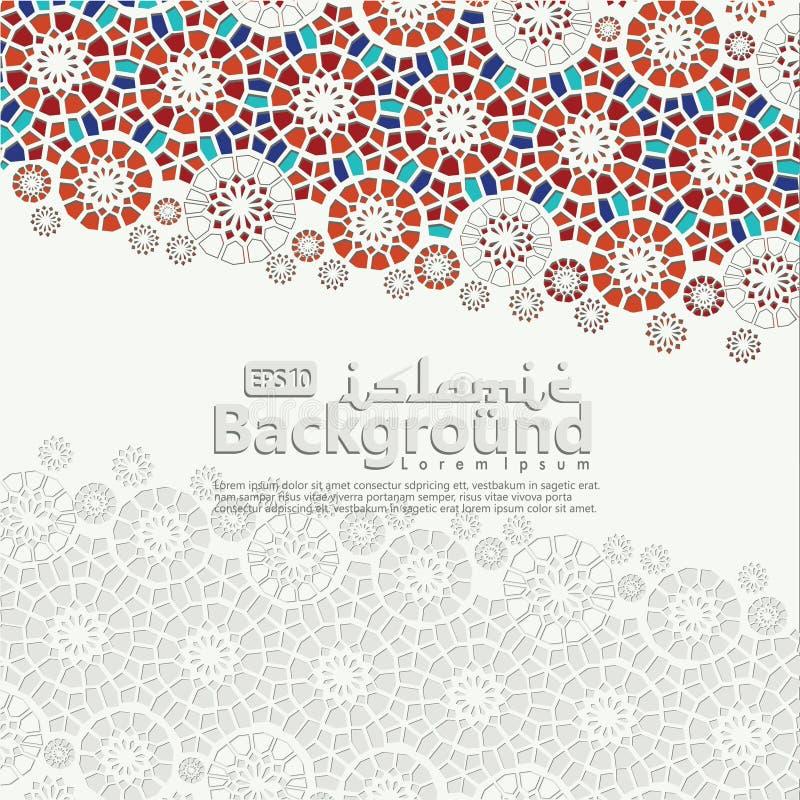 Ευχετήρια κάρτα για Ramadan Kareem και Ied Μουμπάρακ Ισλαμικός διακοσμητικός της απεικόνισης υποβάθρου μωσαϊκών ελεύθερη απεικόνιση δικαιώματος