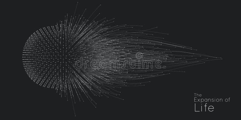 Επέκταση της ζωής Διανυσματικό υπόβαθρο έκρηξης σφαιρών Τα μικρά μόρια προσπαθούν από το κέντρο Θολωμένος debrises στις ακτίνες απεικόνιση αποθεμάτων