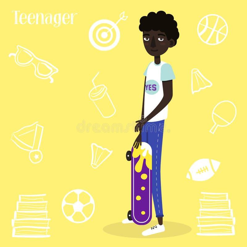 επίσης corel σύρετε το διάνυσμα απεικόνισης Αμερικανικό αγόρι skateboarder Επίπεδο ύφος ελεύθερη απεικόνιση δικαιώματος