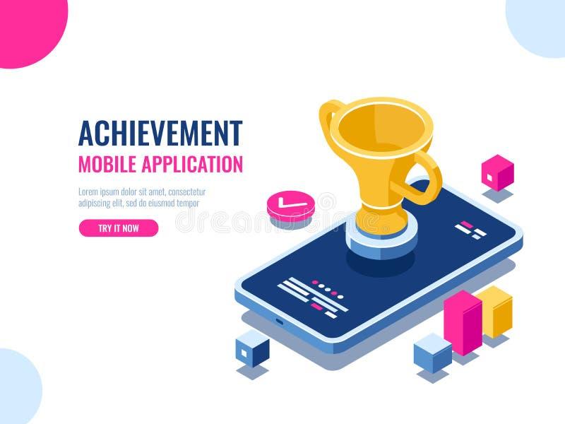 Επίτευγμα στο isometric, κινητό τηλέφωνο διαδικασίας εκπαίδευσης με το χρυσό φλυτζάνι, παιχνίδι smartphone νικητών, επιχειρησιακή απεικόνιση αποθεμάτων