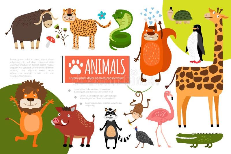Επίπεδη σύνθεση ζώων ζωολογικών κήπων απεικόνιση αποθεμάτων