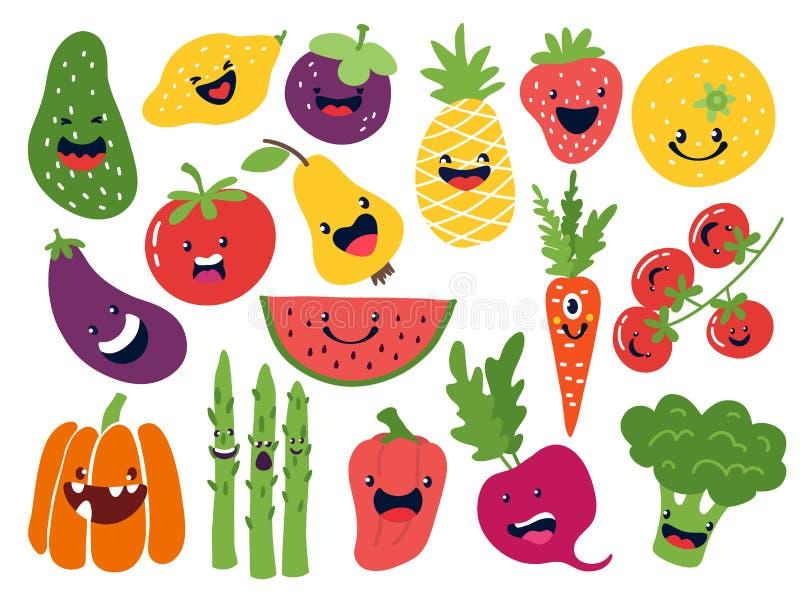 Επίπεδοι φυτικοί χαρακτήρες Αστεία φρούτα smiley doodle, συρμένα χέρι μήλα ντοματών κρεμμυδιών πατατών μούρων Διανυσματικά χαριτω διανυσματική απεικόνιση