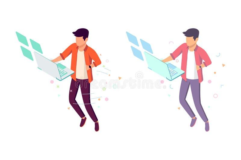 Επίπεδος νεαρός άνδρας με τη μελλοντική διεπαφή και lap-top που κρεμιέται στον αέρα διανυσματική απεικόνιση