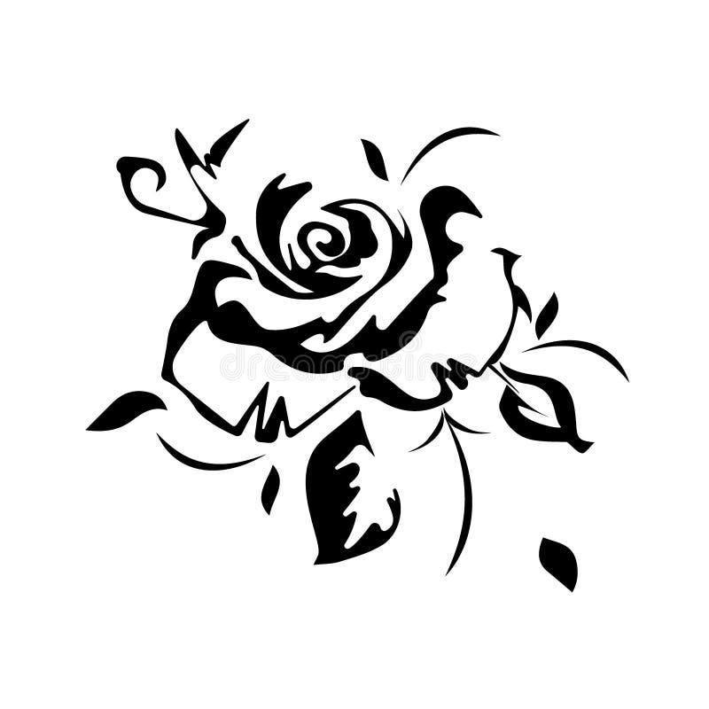Επίπεδος διανυσματικός όμορφος γραπτός αυξήθηκε και φύλλα ελεύθερη απεικόνιση δικαιώματος