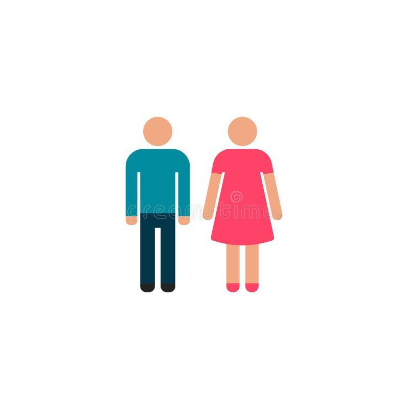Επίπεδο διάνυσμα εικονιδίων ανδρών και γυναικών, σύμβολο ή λογότυπο ελεύθερη απεικόνιση δικαιώματος