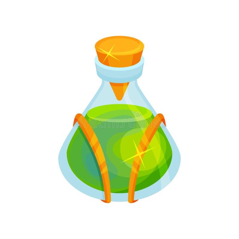 Επίπεδο διανυσματικό εικονίδιο του μπουκαλιού γυαλιού με την πράσινη μαγική φίλτρο Μαγικό ελιξίριο Γραφικό στοιχείο για το βιβλίο ελεύθερη απεικόνιση δικαιώματος
