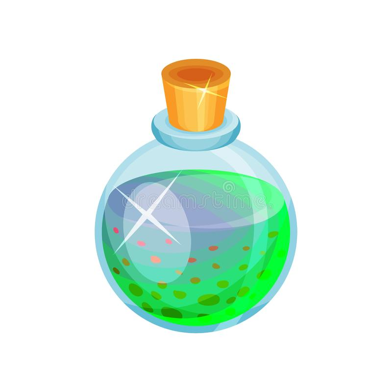 Επίπεδο διανυσματικό εικονίδιο του στρογγυλού μπουκαλιού γυαλιού με τη φίλτρο Τοξικό γαλαζοπράσινο υγρό Μαγικό ελιξίριο Στοιχείο  ελεύθερη απεικόνιση δικαιώματος
