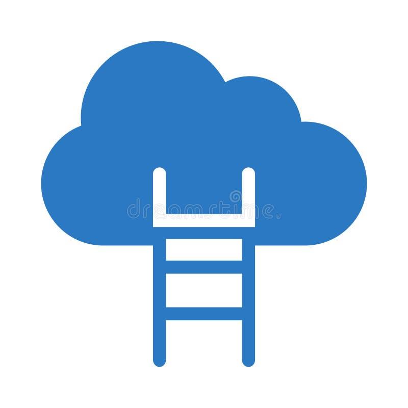 Επίπεδο διανυσματικό εικονίδιο χρώματος σκαλοπατιών σύννεφων glyph απεικόνιση αποθεμάτων