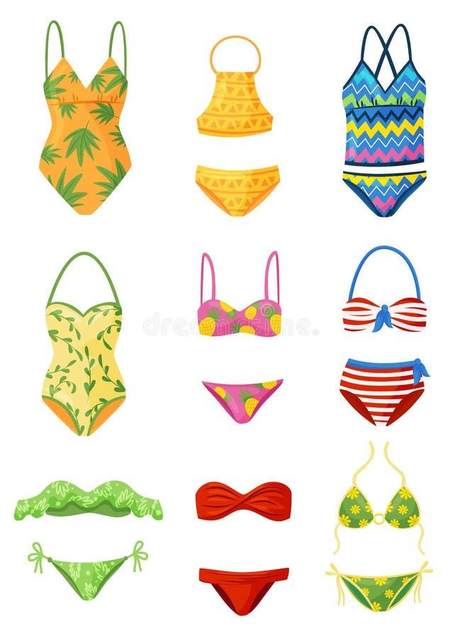 Επίπεδο διανυσματικό σύνολο θηλυκών μαγιό Καθιερώνον τη μόδα ένδυμα γυναικών για την κολύμβηση Μοντέρνος beachwear Θέμα μόδας απεικόνιση αποθεμάτων