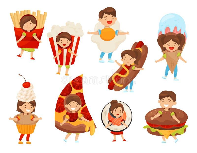 Επίπεδο διανυσματικό σύνολο παιδιών στα κοστούμια τροφίμων Χαριτωμένα αγόρια και κορίτσια με τις ευτυχείς εκφράσεις προσώπου Παιδ διανυσματική απεικόνιση