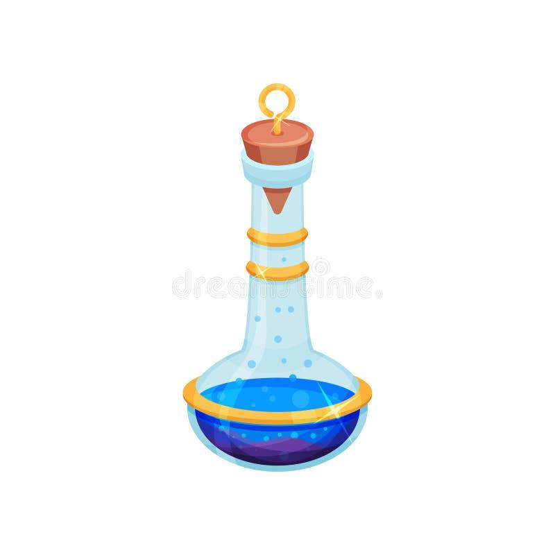 Επίπεδο διανυσματικό σχέδιο του μπουκαλιού με τη φωτεινή μπλε φίλτρο Φιάλη γυαλιού με το καπάκι Τοξικό υγρό Μαγικό ελιξίριο Εικον απεικόνιση αποθεμάτων