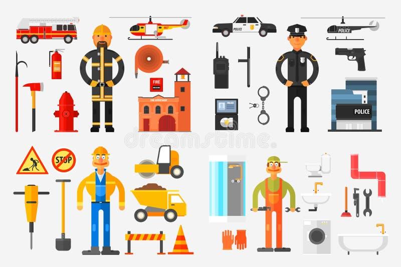 Επαγγέλματα καθορισμένα, πυροσβέστης, αστυνομικός, οδικός εργαζόμενος, υδραυλικός με την επαγγελματική διανυσματική απεικόνιση εξ απεικόνιση αποθεμάτων