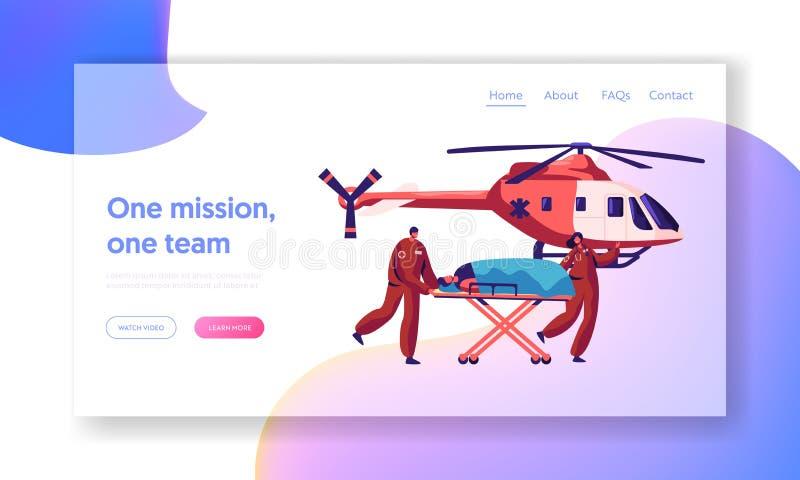 Επαγγελματική προσγειωμένος σελίδα διάσωσης ιατρικής Επείγων τραυματισμένος μεταφορά χαρακτήρας γιατρών με το ελικόπτερο στο νοσο διανυσματική απεικόνιση
