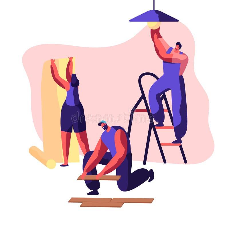 Επαγγελματικός εργαζόμενος υπηρεσιών επισκευής σε ομοιόμορφο για την εργασία ανακαίνισης Η γυναίκα κολλά την ταπετσαρία στο σπίτι ελεύθερη απεικόνιση δικαιώματος