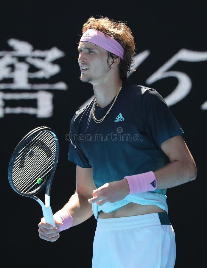 Επαγγελματικός τενίστας Αλέξανδρος Zverev της Γερμανίας της Ιαπωνίας στη δράση κατά τη διάρκεια του κύκλου αντιστοιχίας 16 του στ στοκ φωτογραφία με δικαίωμα ελεύθερης χρήσης