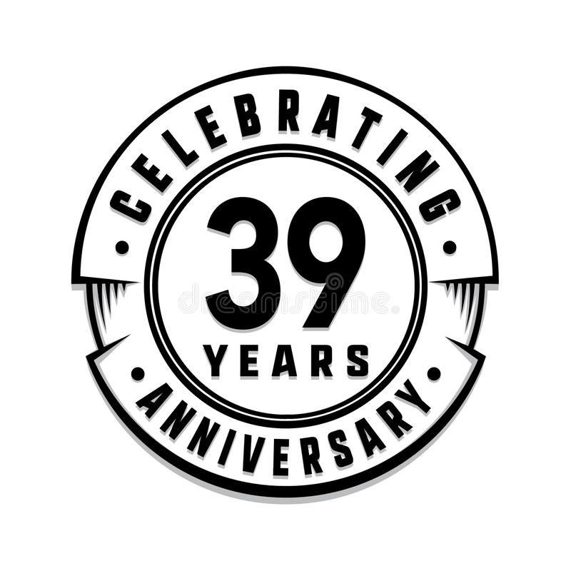 39 επετείου έτη προτύπων λογότυπων 39ο διάνυσμα και απεικόνιση απεικόνιση αποθεμάτων