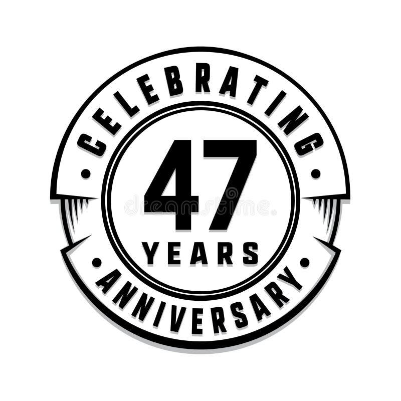 47 επετείου έτη προτύπων λογότυπων 47ο διάνυσμα και απεικόνιση ελεύθερη απεικόνιση δικαιώματος