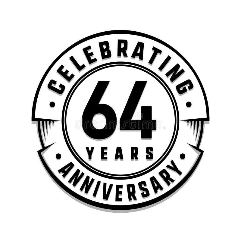 64 επετείου έτη προτύπων λογότυπων 64ο διάνυσμα και απεικόνιση απεικόνιση αποθεμάτων