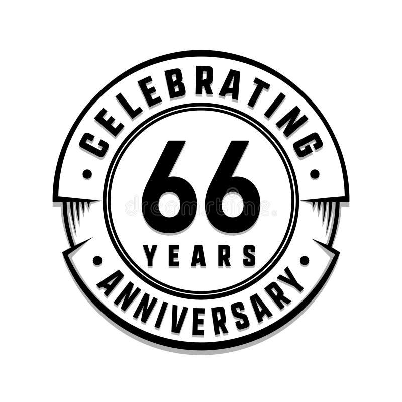 66 επετείου έτη προτύπων λογότυπων 66ο διάνυσμα και απεικόνιση ελεύθερη απεικόνιση δικαιώματος
