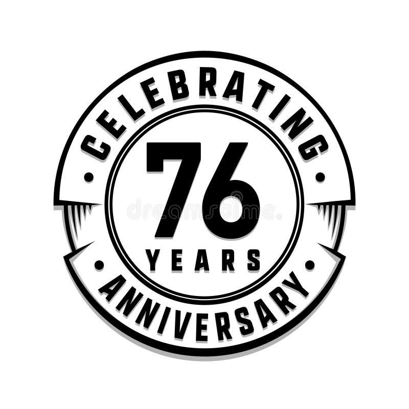 76 επετείου έτη προτύπων λογότυπων 76ο διάνυσμα και απεικόνιση ελεύθερη απεικόνιση δικαιώματος