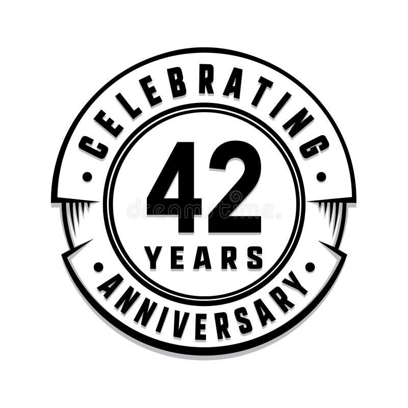 42 επετείου έτη προτύπων λογότυπων 42$ο διάνυσμα και απεικόνιση ελεύθερη απεικόνιση δικαιώματος