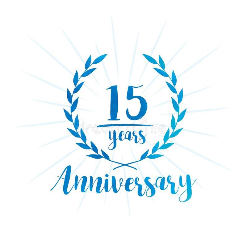 15 επετείου έτη προτύπων σχεδίου Δεκαπέντε επετείου εορτασμού έτη προτύπων σχεδίου διανυσματική απεικόνιση