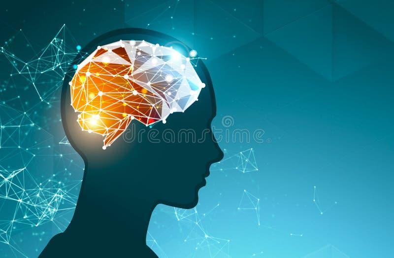 Επικεφαλής σκιαγραφία ατόμων με το polygonal εγκέφαλο διανυσματική απεικόνιση