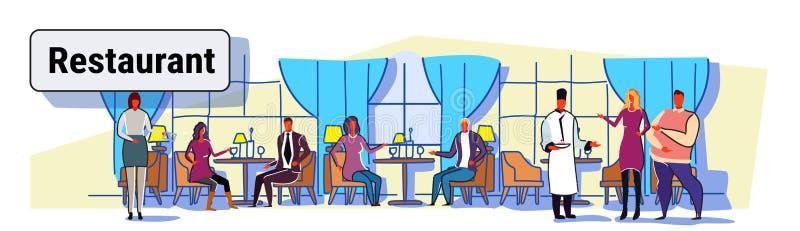 Επισκέπτες ανθρώπων που κάθονται στους επιτραπέζιους σερβιτόρους εστιατορίων που παρουσιάζουν φιλοξενία και που οι φιλοξενούμενοι απεικόνιση αποθεμάτων