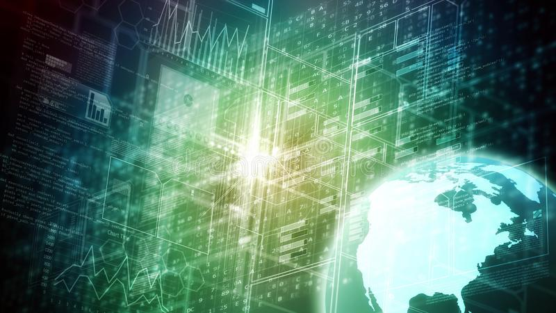 Επιστήμη στοιχείων Διαδικτύου και μεγάλη έννοια στοιχείων απεικόνιση αποθεμάτων